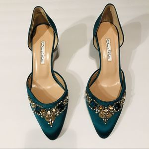 Oscar De La Renta Womens Jewel Forest Green Heels8